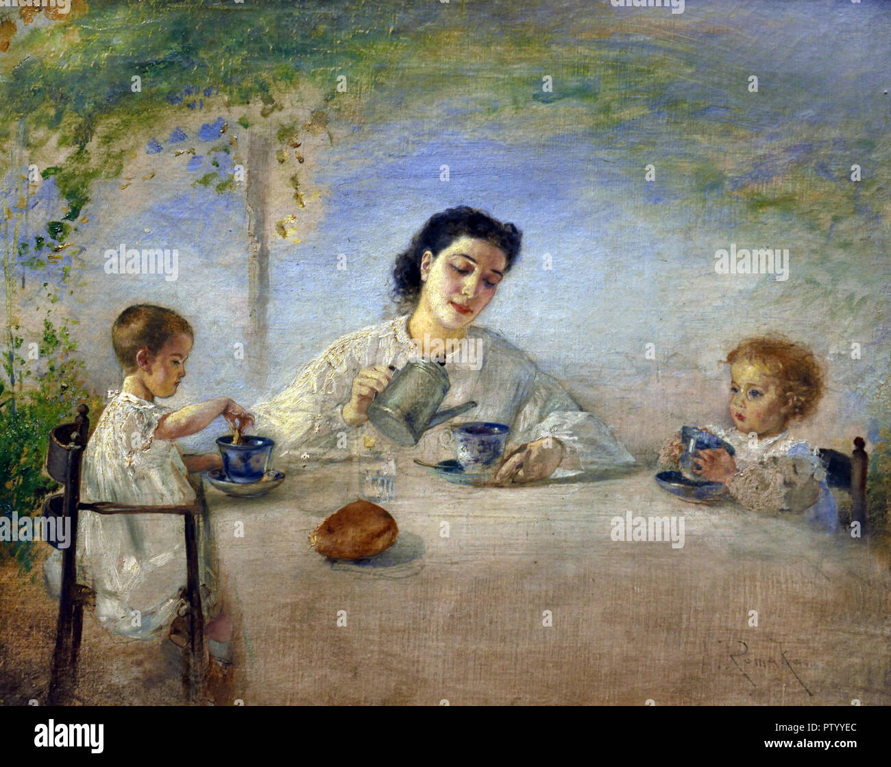 THE ARTIST'S FAMILY AT BREAKFAST, 1872/73 by Anton Romako 1832 – 1889  Austrian painter. Austria . ( Anton Romako was one of the great pioneers of Modernism ) - Stock Image