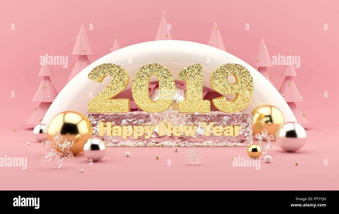 2019 happy new year wish 3d composition in millennial pink colors and christmas trees with - New years colors 2019 ...