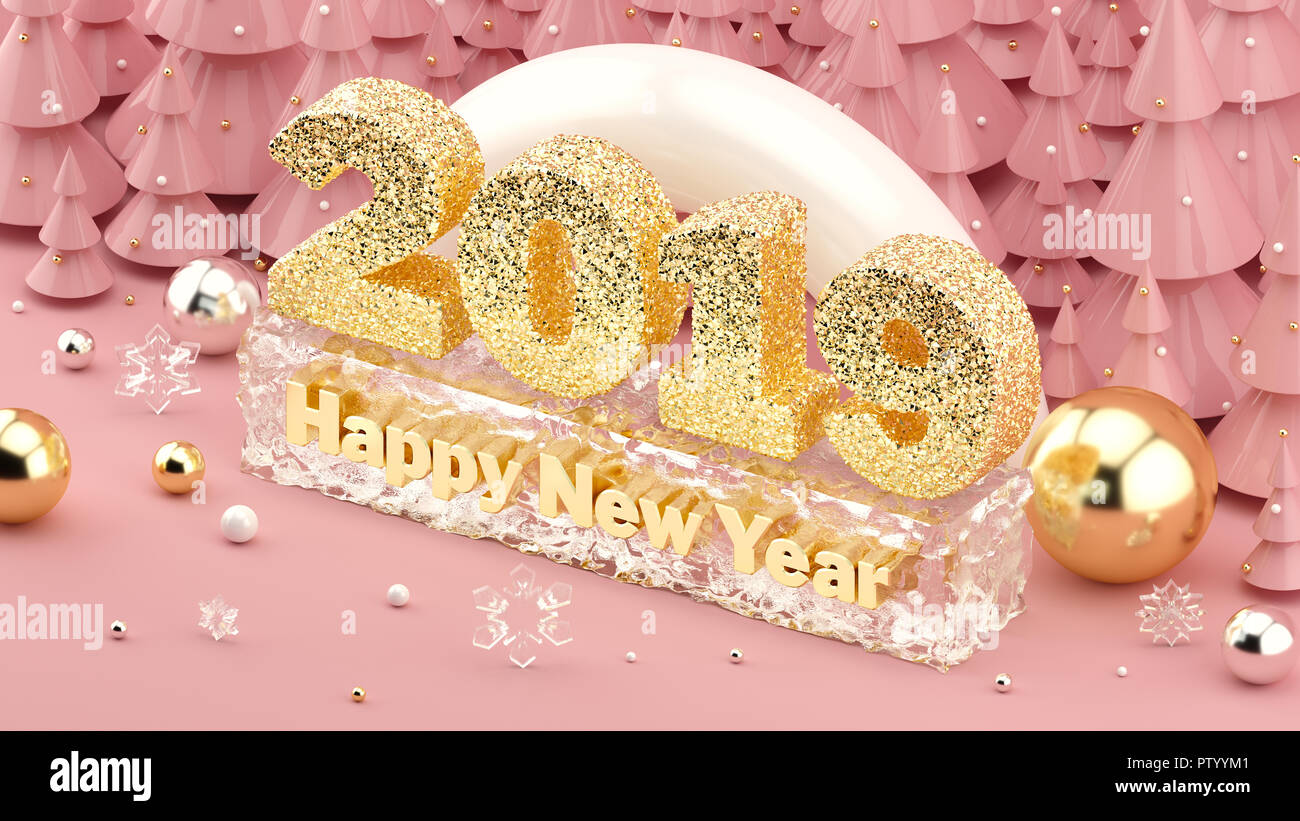 2019 happy new year isometric 3d illustration in millennial pink colors and christmas trees with - New years colors 2019 ...