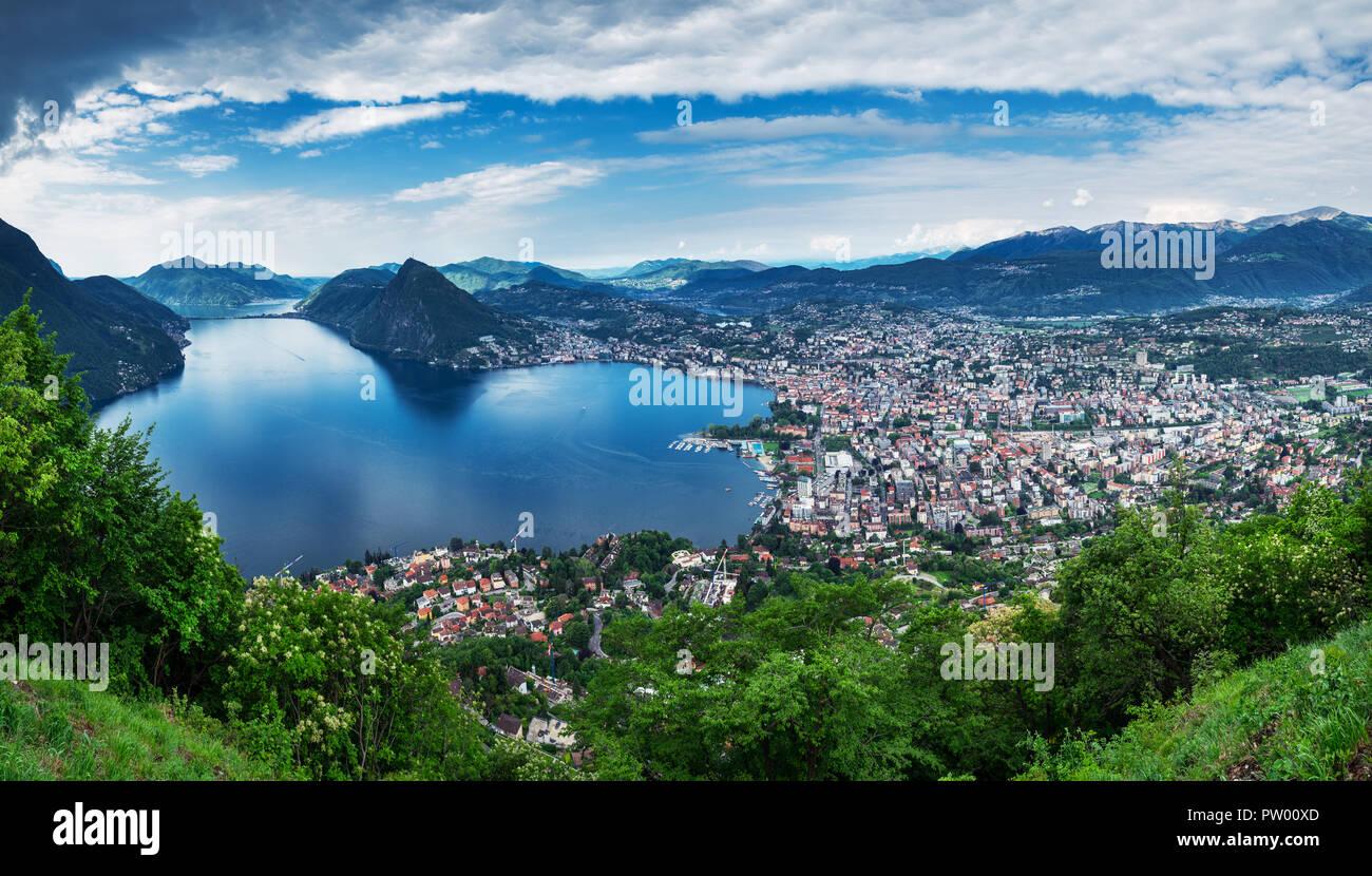 Lugano, Switzerland, May 12, 2018. Beautiful panoramic view of  Lugano city from Monte Brè Mountain. Stock Photo