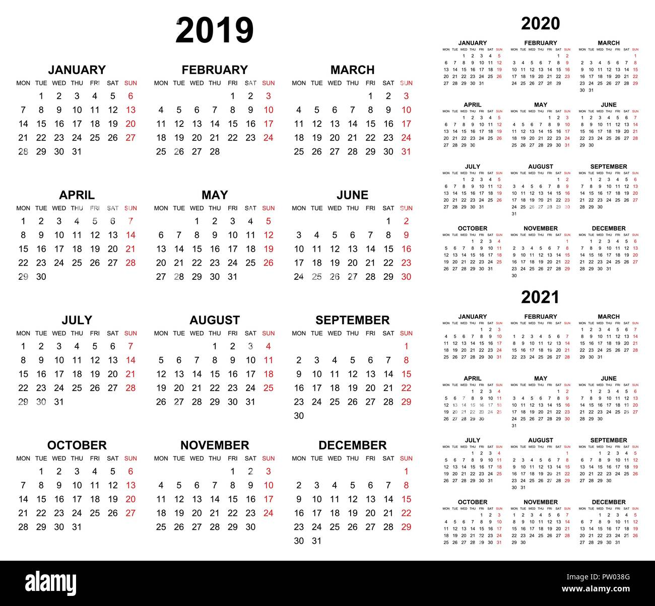 simple editable vector calendars for year 2019 2020 2021 mondays first sundays in red stock