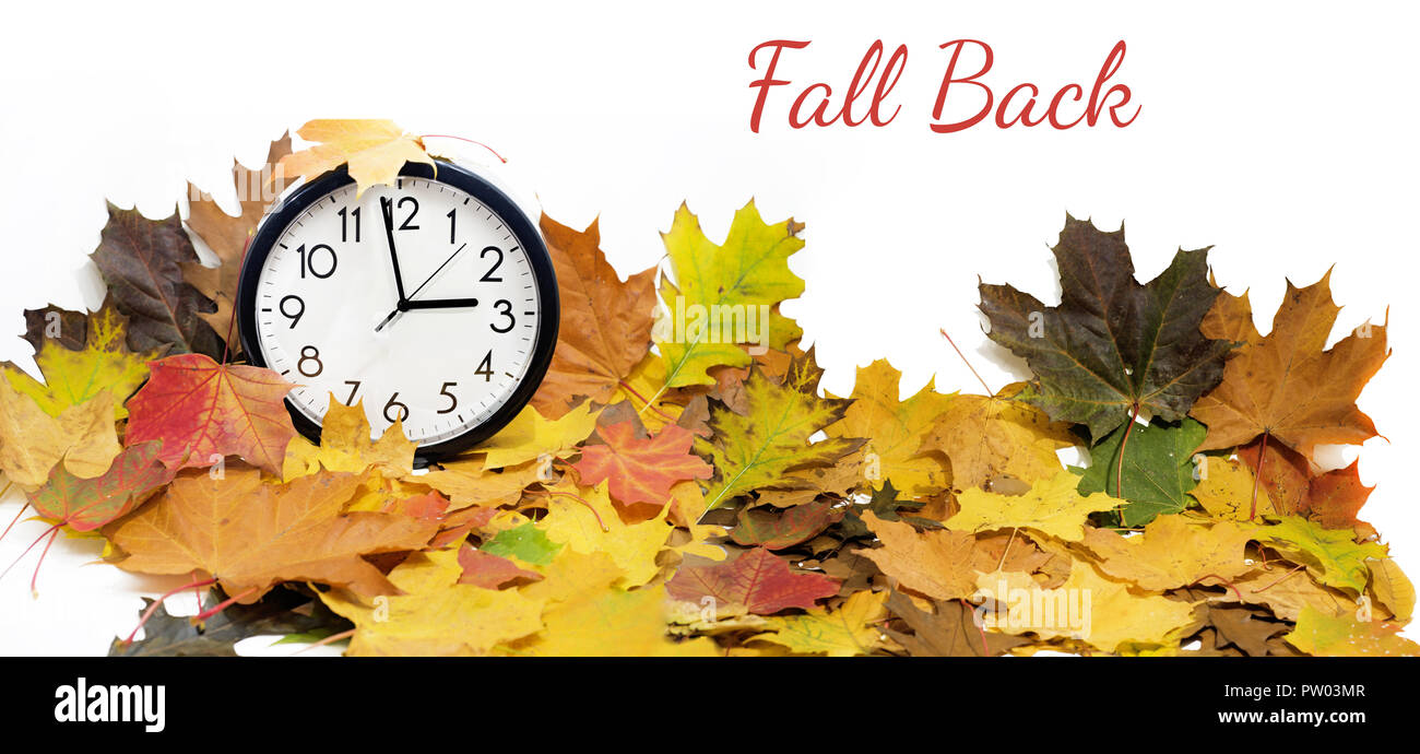Isolated electronic wall clock. Autumn abstraction. Fall back time. Stock Photo