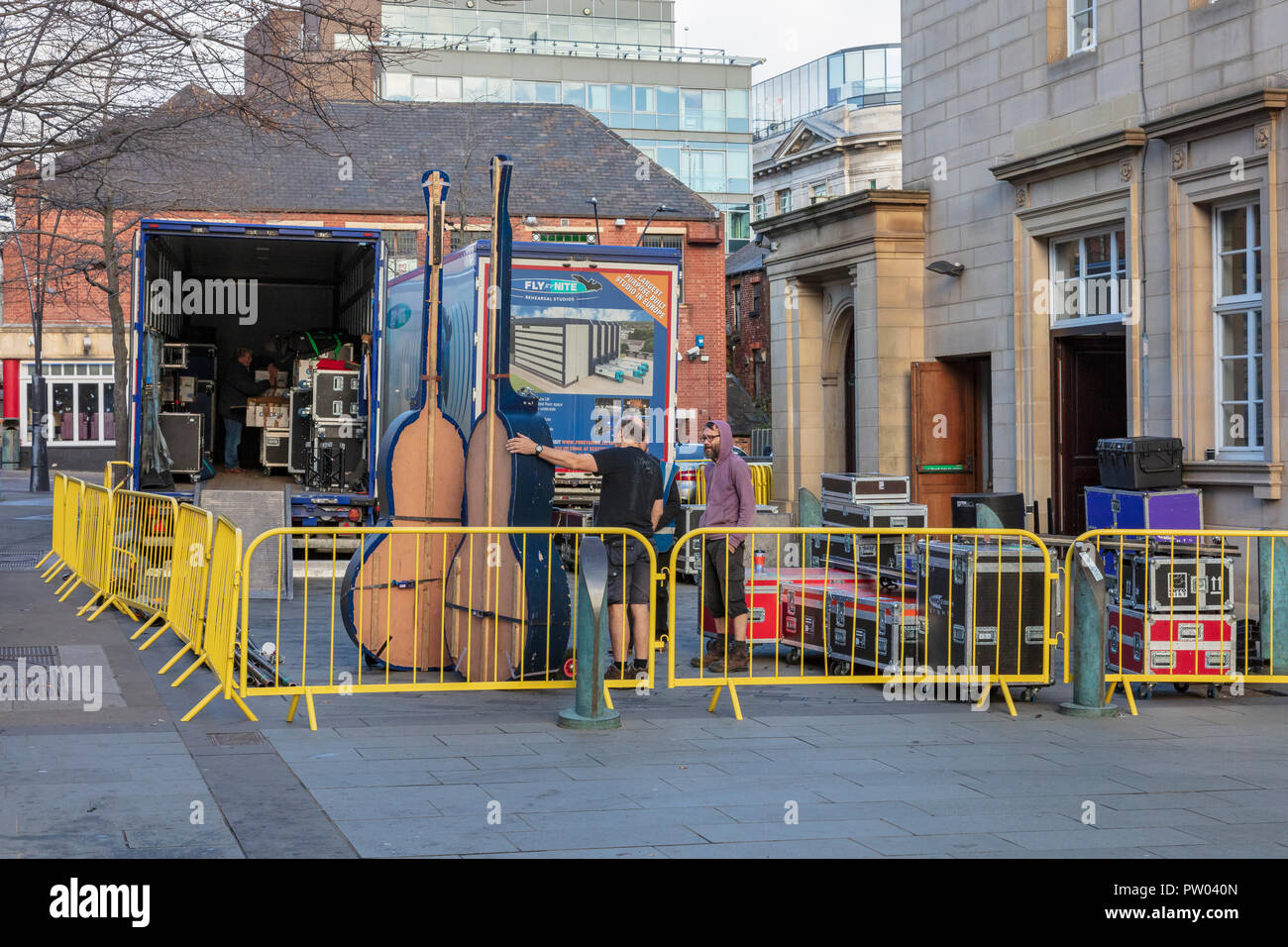 Equipment arriving for a Chris Rea Concert at Sheffield City Hall, December 2017, South Yorkshire, UK - Stock Image