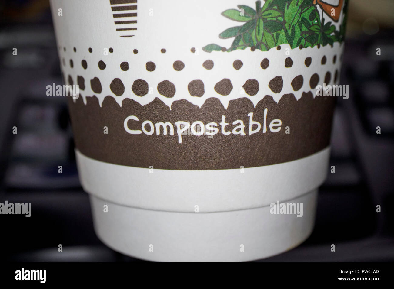 compostable disposable coffee cup - Stock Image