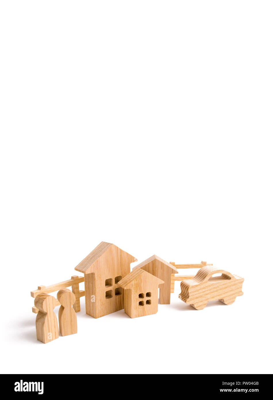 Wooden houses, people and car on a white background. The concept of possessions, buildings. Purchase and sale of real estate, investment. . Constructi - Stock Image