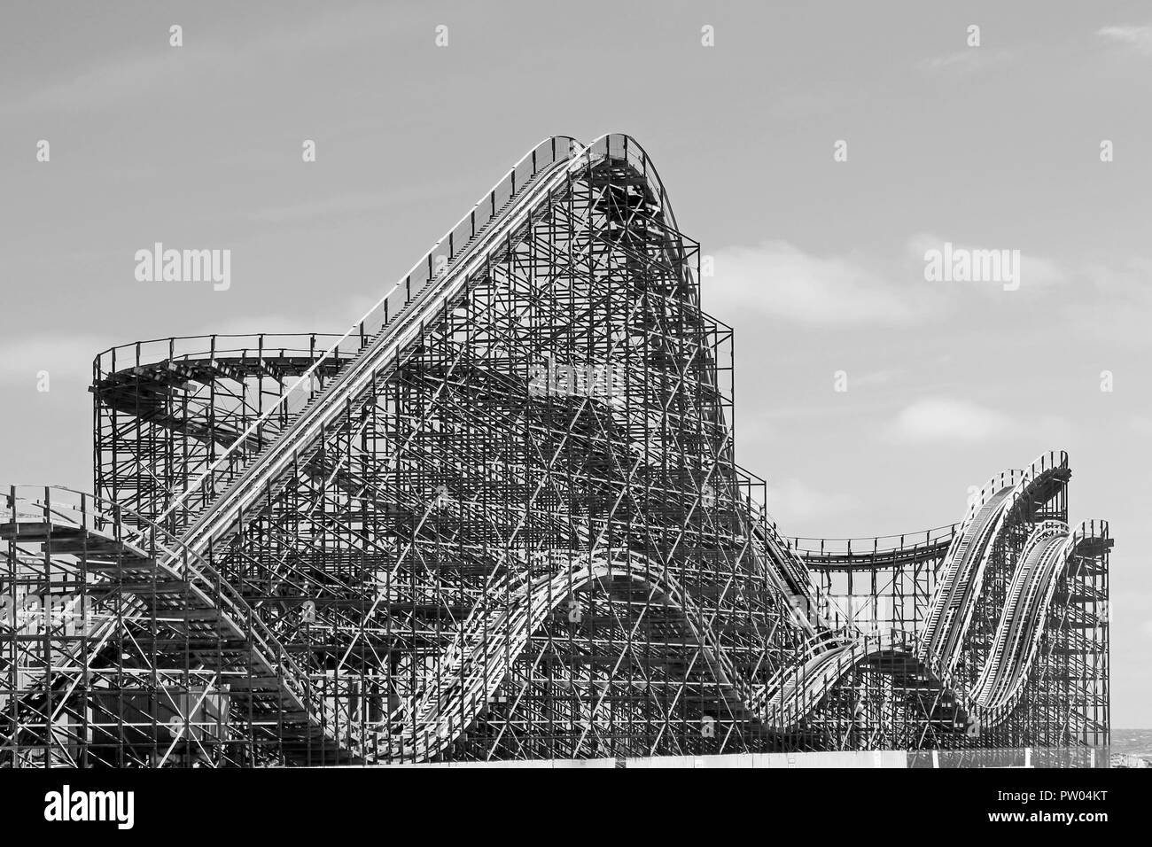 The Great White roller coaster in black and white, Wildwood NJ, USA - Stock Image