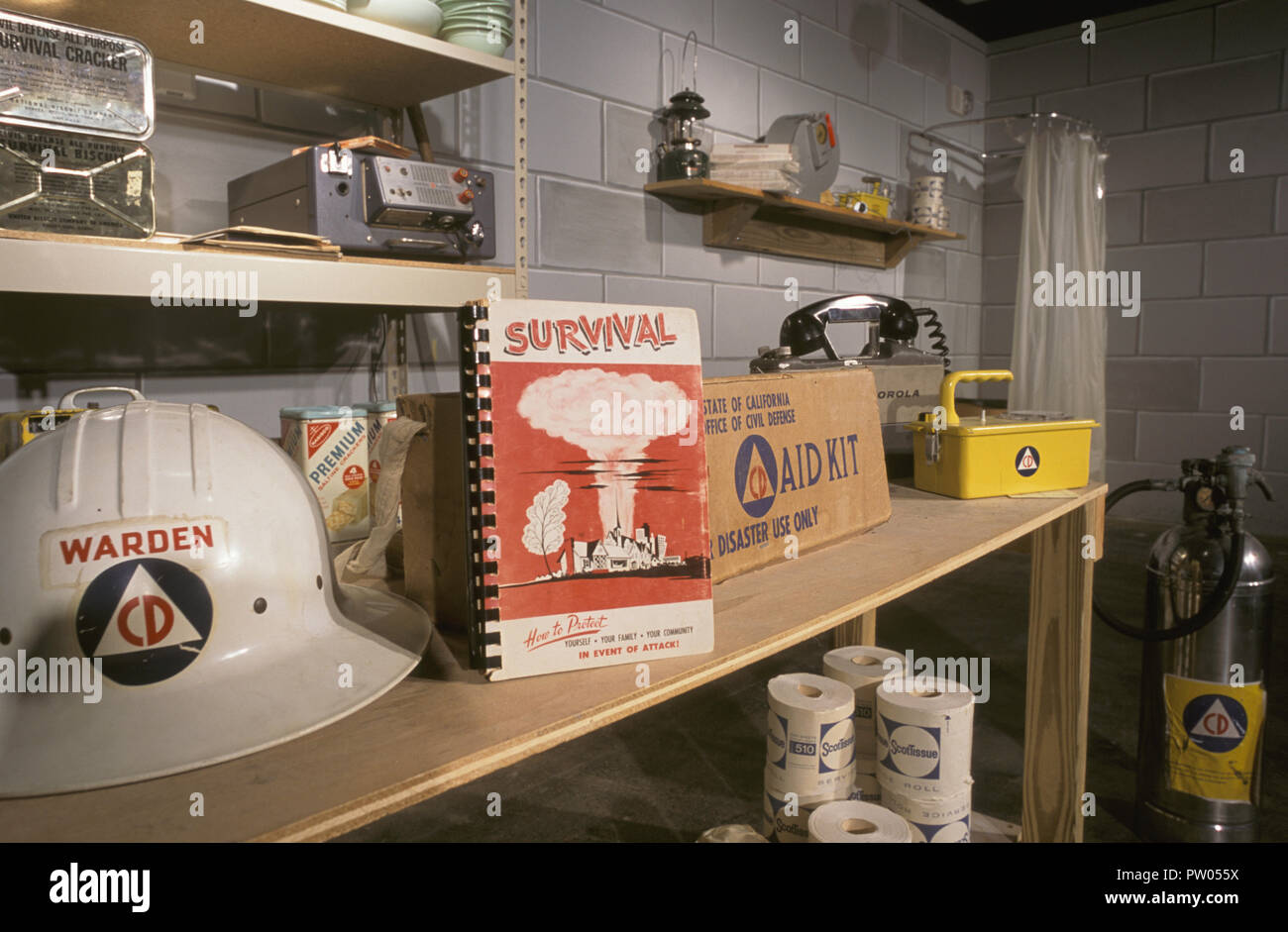Interior of an underground atomic fallout shelter, USA Stock Photo
