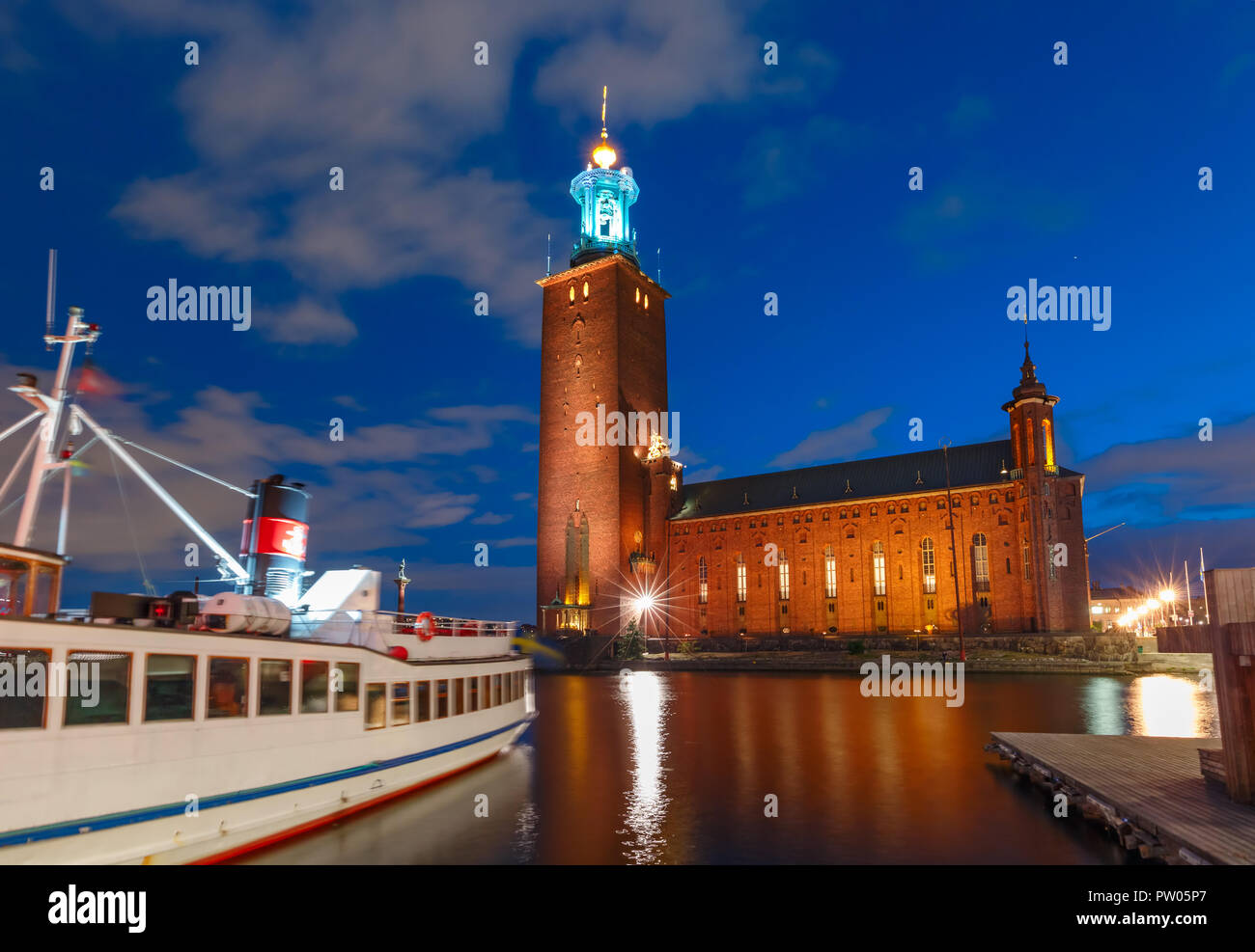 Stockholm City Hall at night, Stockholm, Sweden Stock Photo