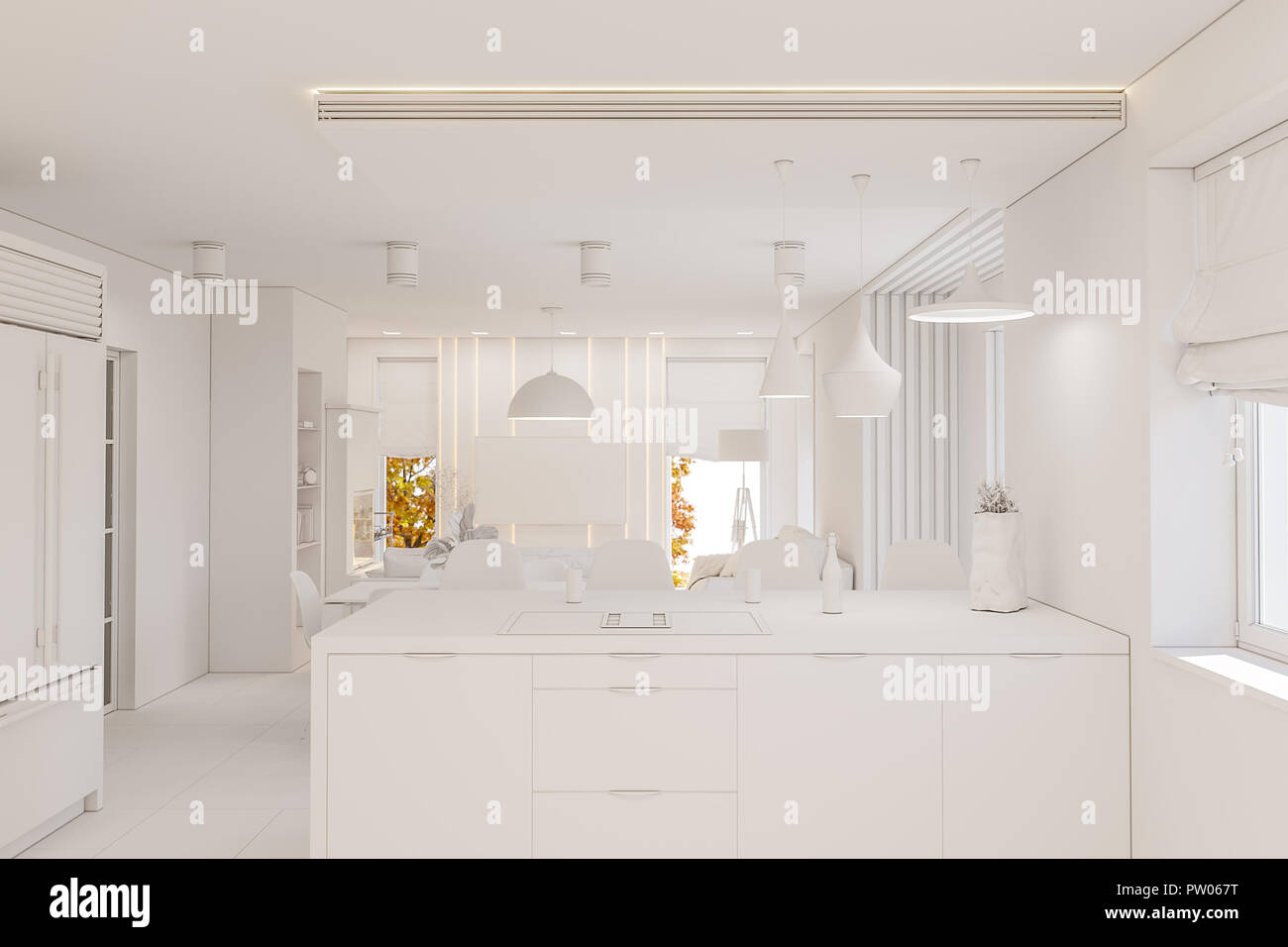 Kitchen Interior Design In White Color Modern Studio Apartment In