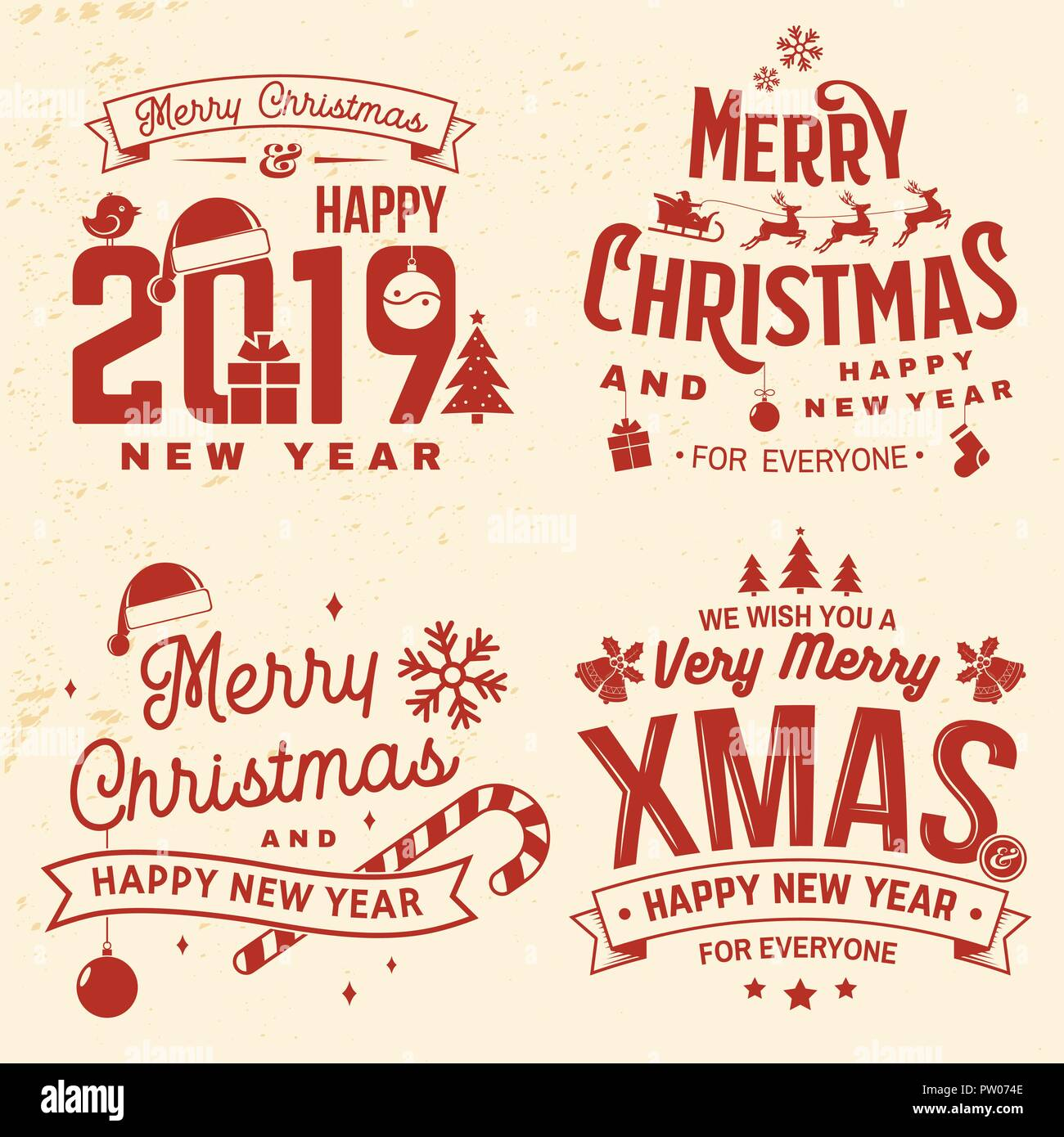 Set of Merry Christmas and 2019 Happy New Year stamp, sticker set ...