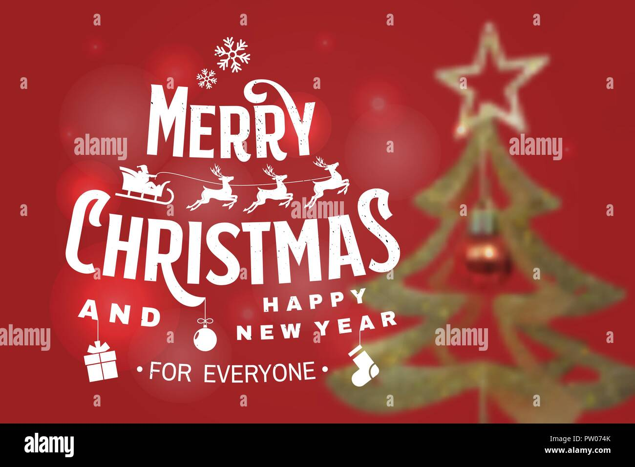 Merry Christmas and 2019 Happy New Year stamp, sticker set with ...