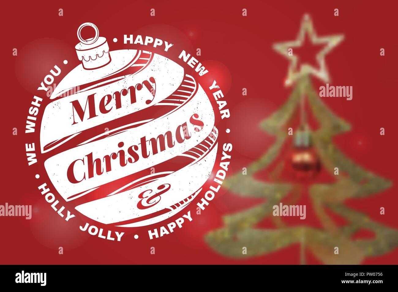 we wish you a very merry christmas and happy new year stamp sticker set with hanging christmas bell vector illustration vintage typographic design for
