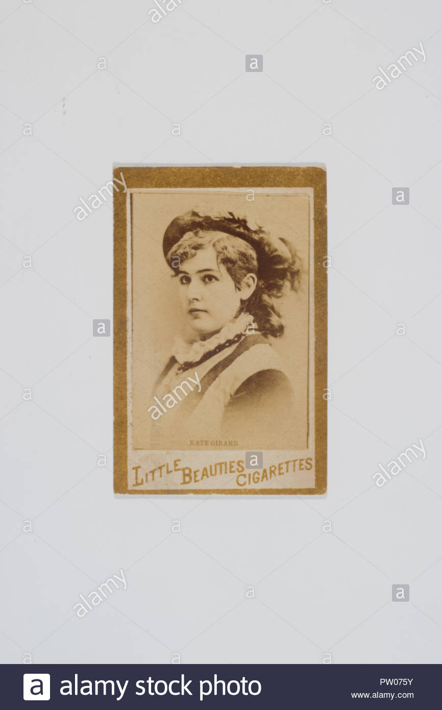 Kate Girard, Actress. From the Actresses and Celebrities Series. (N60 Type 1) 1887. Advertising for Little Beauties Cigarettes for Allen and Ginter. Issued by Allen and Ginter in 1887. There are 3 Known Types of  N60 Little Beauties Cigarettes in the Set. Gold Borders are on Type 1 and Type 2 of the N60 series. Type 1 has Little Beauties Cigarettes printed on front bottom of Card. Type 2 has no print on front of Card. There is one Known Type 3. Front of Card has a White Border With a Black Frame line, With Little Beauties Cigarettes, Printed on Front bottom of Card. - Stock Image