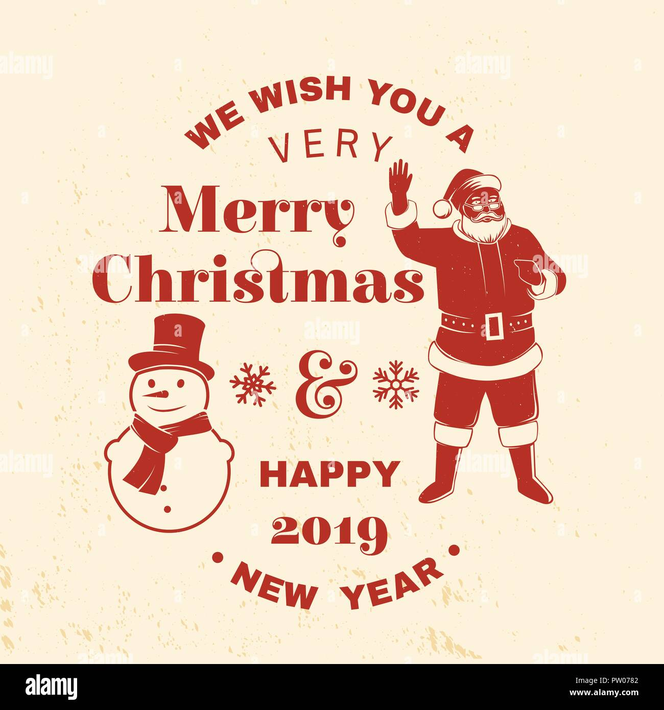We wish you a very Merry Christmas and Happy New Year stamp, sticker ...