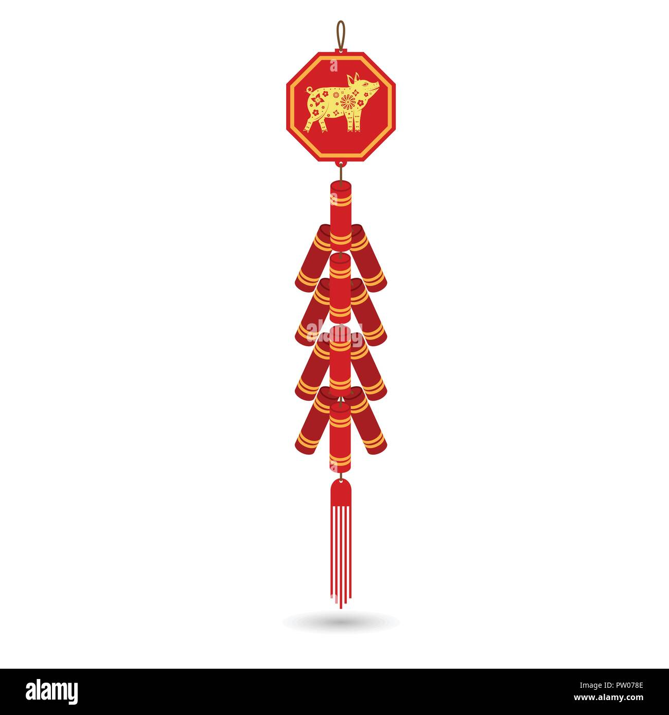 Red chinese firecracker flat icon. Vector illustration. Red fire cracker art design. Stock Vector