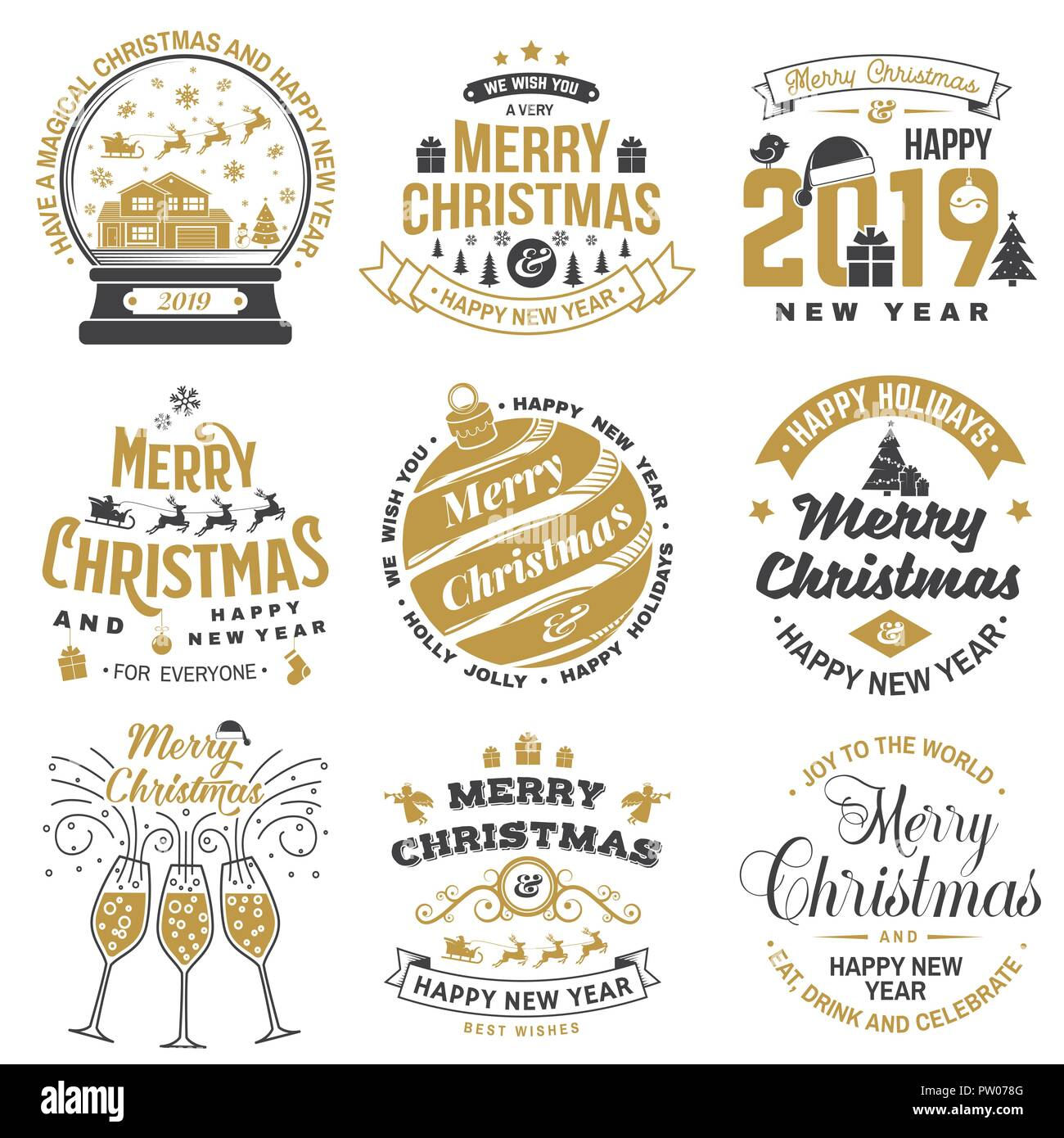 Christmas Stamps For 2019 Set of Merry Christmas and 2019 Happy New Year stamp, sticker set