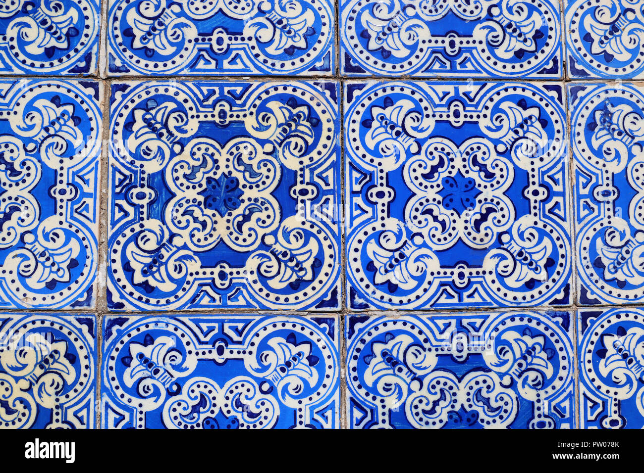 An abstract image of an Azulejos tile compilation found on a town house in Arganil, Portugal - Stock Image