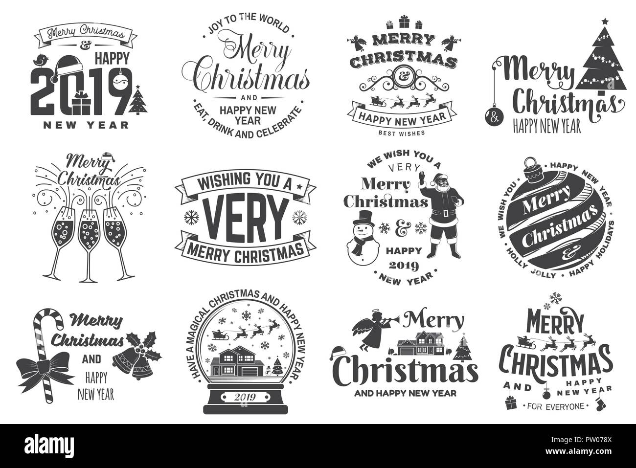 Set of Merry Christmas and 2019 Happy New Year stamp, sticker Set quotes with snowflakes, snowman, santa claus, candy, sweet candy, cookies. Vector. Vintage typography design for xmas, new year emblem - Stock Image