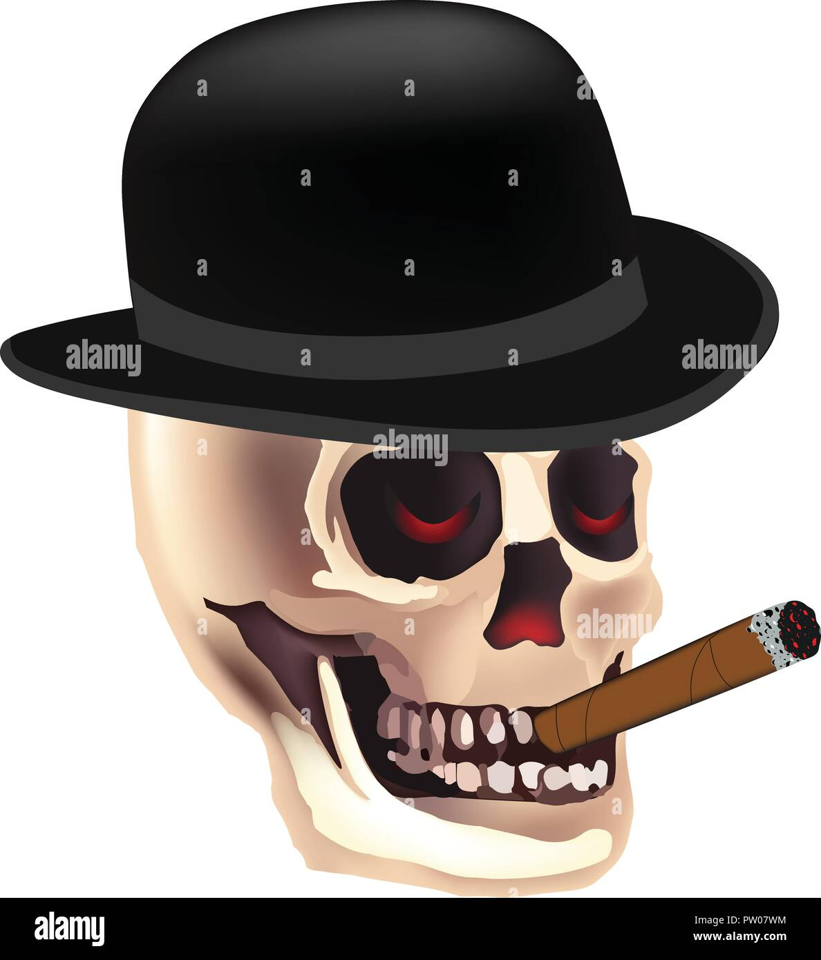 d47e1e943cfbd Halloween skeleton with top hat.Grim Reaper smoking skull vector - Stock  Image