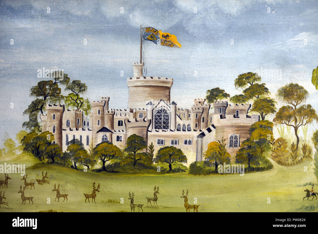 Windsor Castle Folk Art Painting by an Anonymous/Unknown Artist c1850  Detail - Stock Image