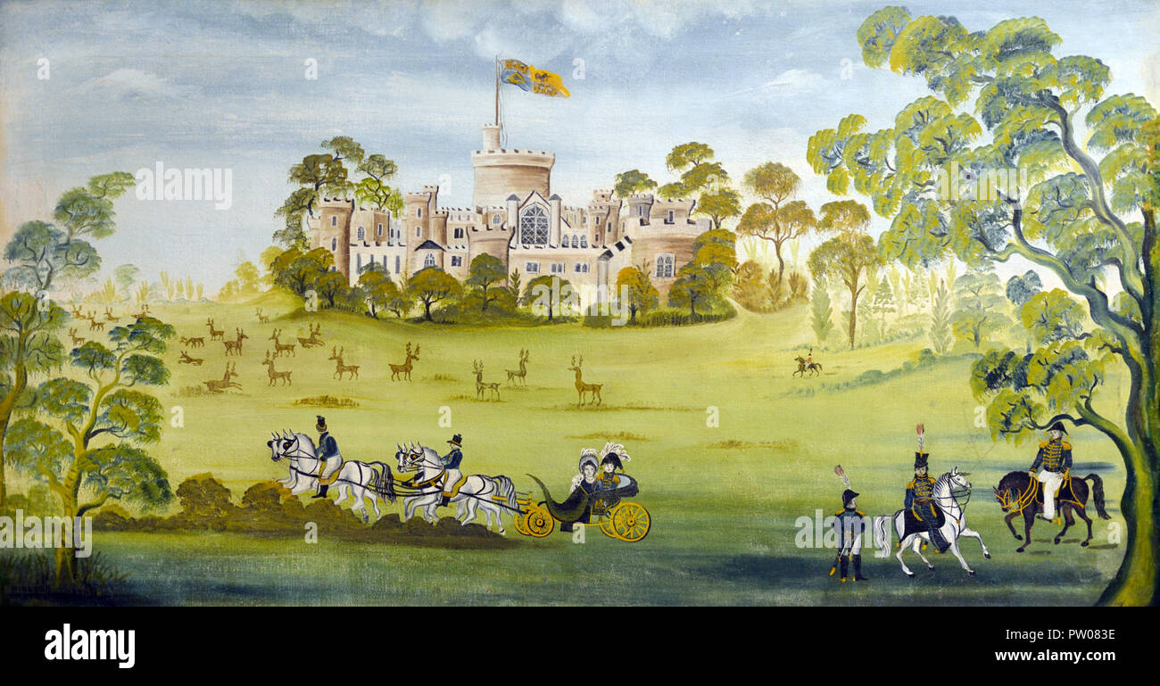 Windsor Castle Folk Art Painting by an Anonymous/Unknown Artist c1850 - Stock Image
