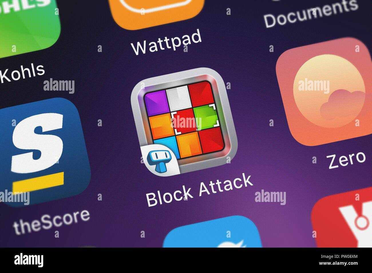London United Kingdom October 11 2018 Close Up Of The Block Attack Logic Match 3 Board Game Icon From Tapps Tecnologia Da Informacao Ltda On A Stock Photo Alamy