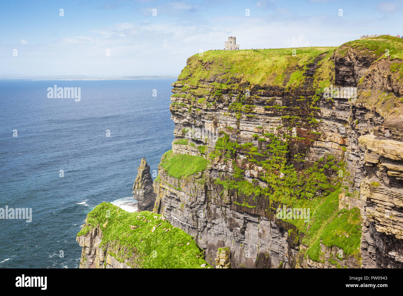 The 214-metre high Cliffs of Moher in County Clare are Ireland's most visited natural attraction. Stock Photo