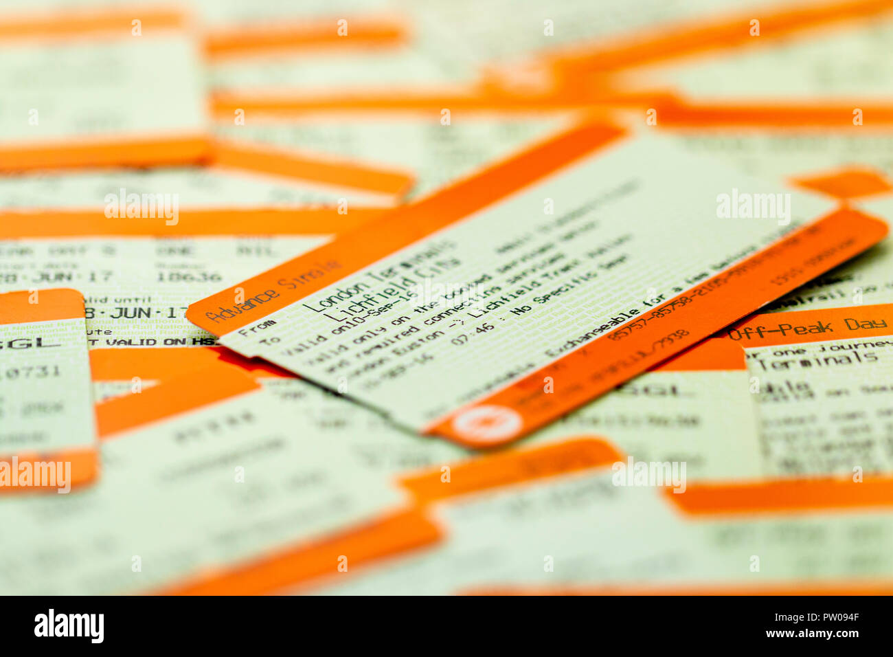 British railways ticket with others. Main ticket is Advance single. - Stock Image