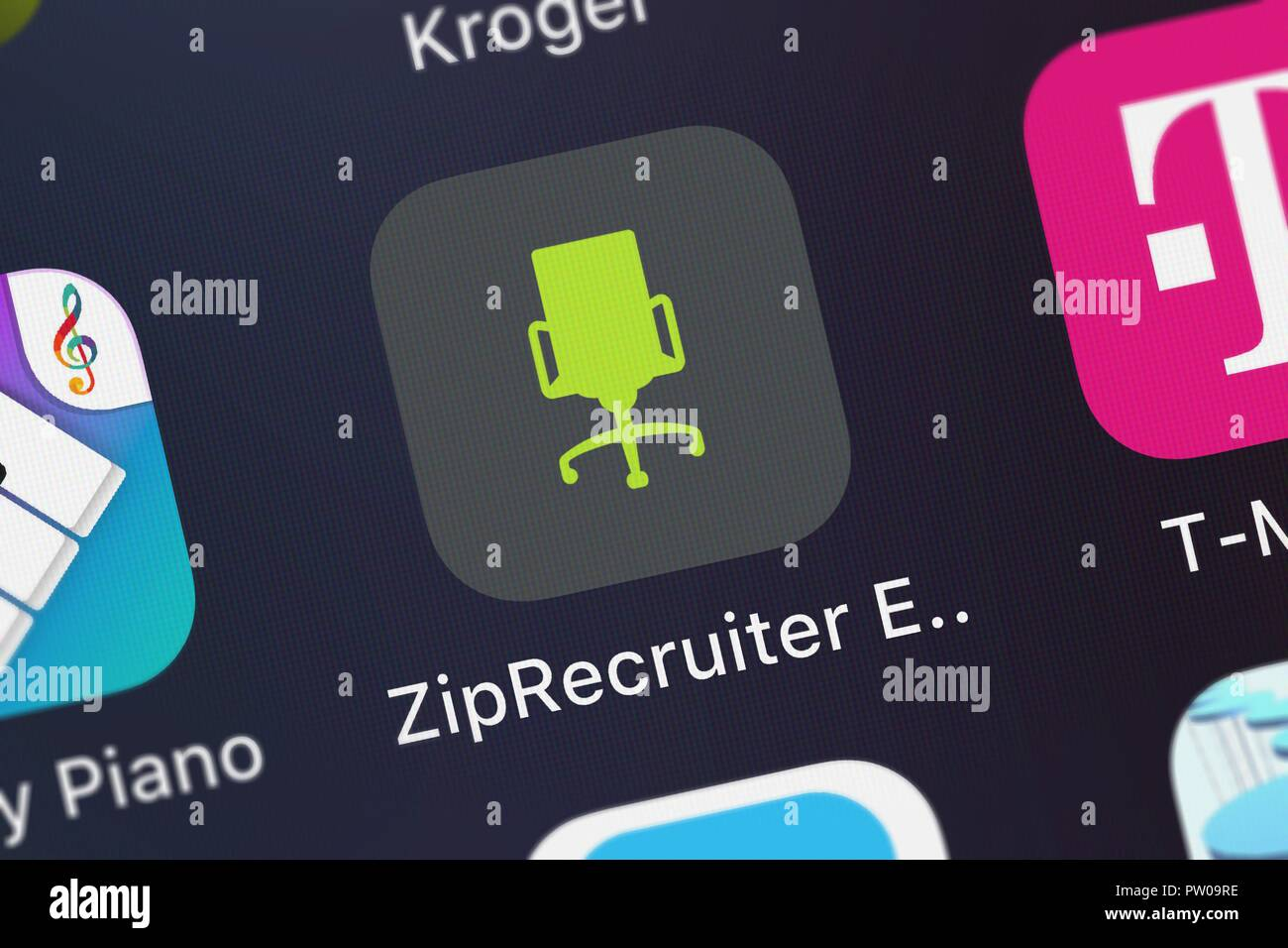 London, United Kingdom - October 11, 2018: Screenshot of ZipRecruiter, Inc.'s mobile app ZipRecruiter Employer. - Stock Image
