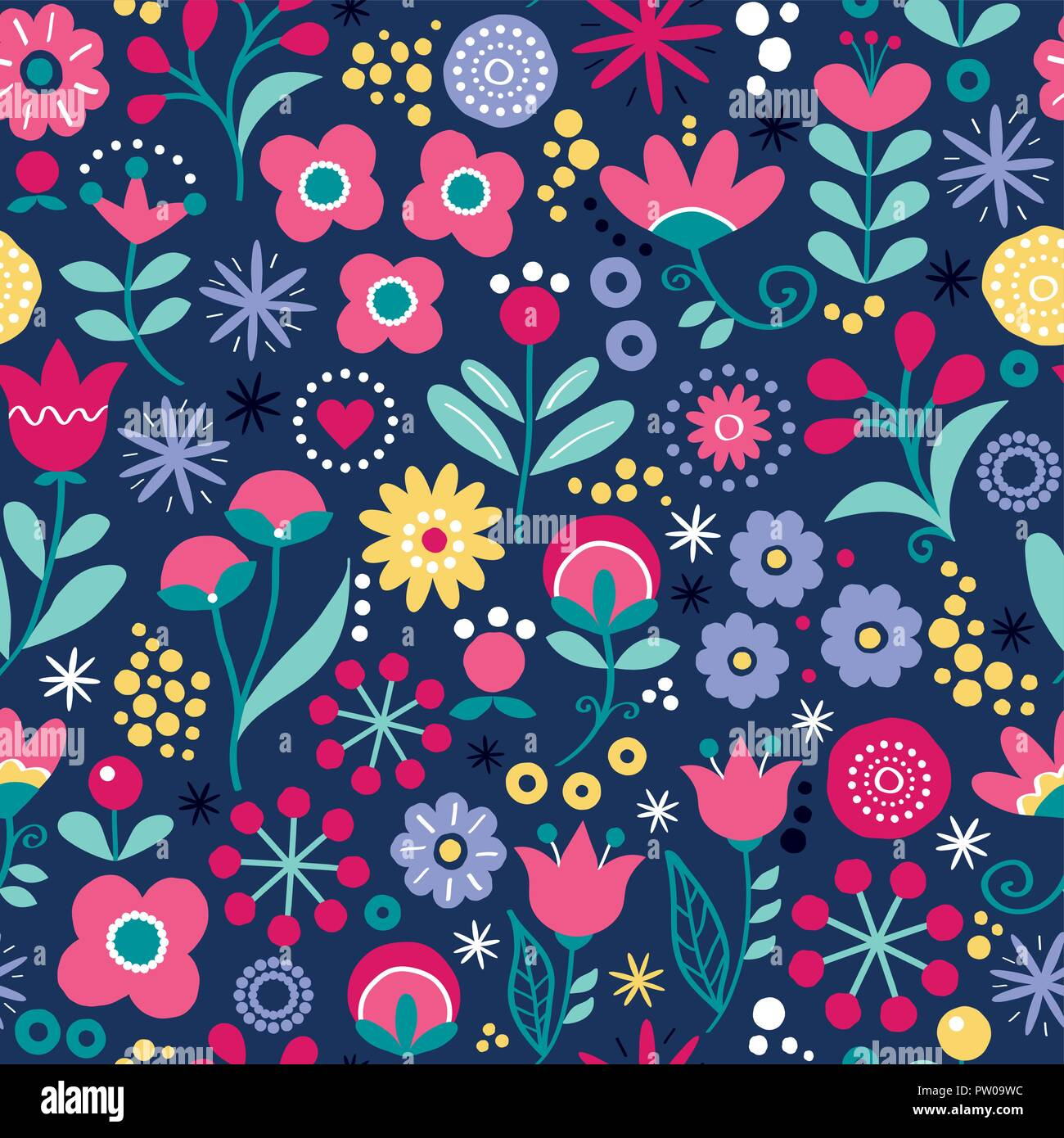 Floral seamless vector folk art pattern - hand drawn vintage Scandinavian style textile design with pink and yellow flowers on navy blue - Stock Image
