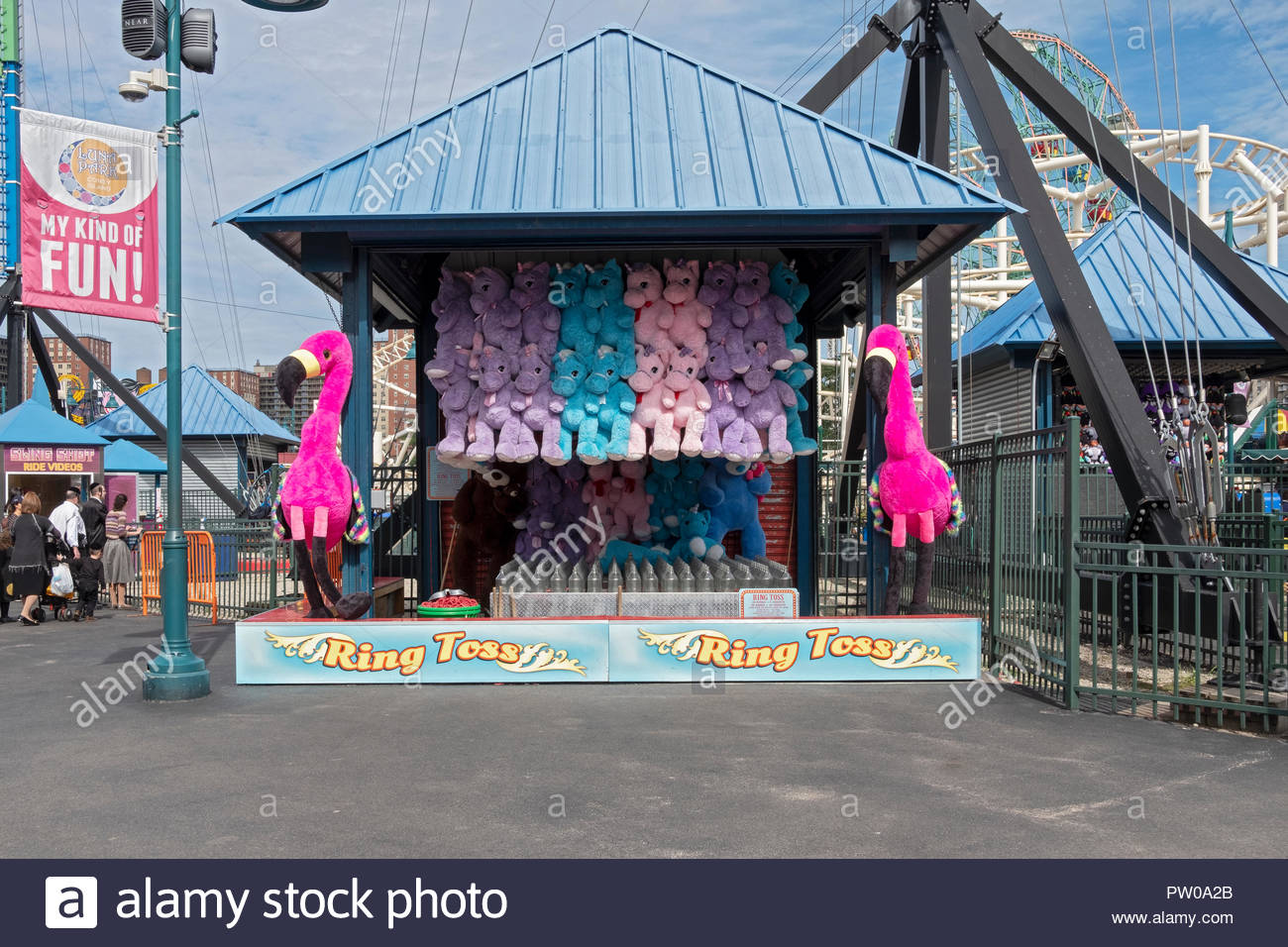 The RING TOSS game at Luna Park, just off the boardwalk in Coney Island, Brooklyn, New York. - Stock Image