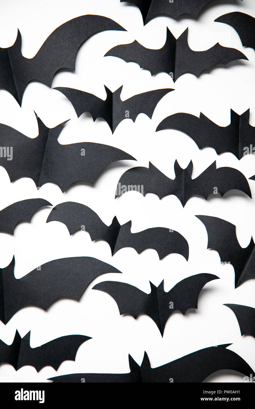 Halloween Paper Bat Decorations On A White Background Stock Photo
