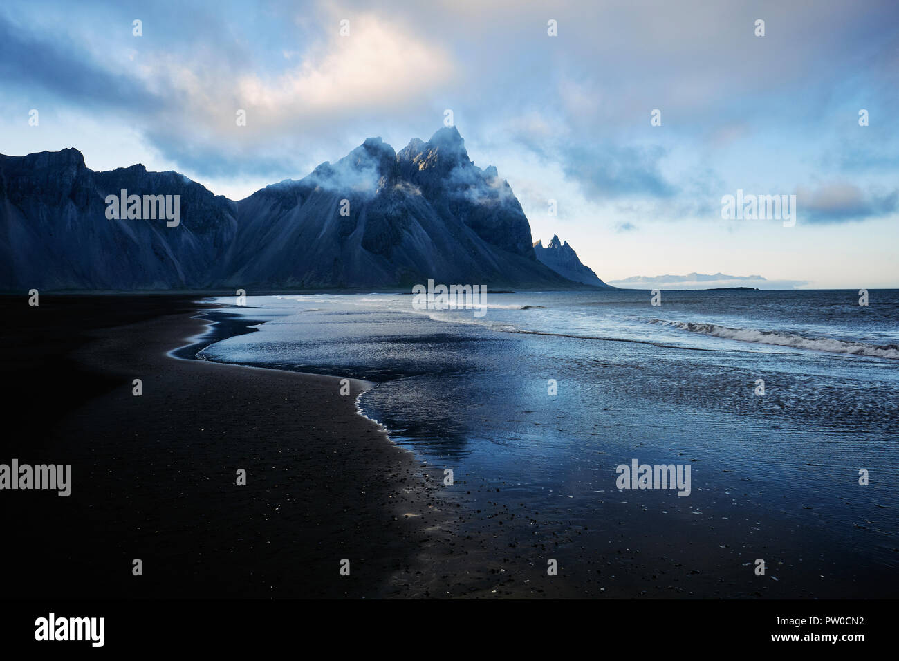 Vestrahorn mountain and the black sand beach at dusk in Stokksnes south east Iceland Stock Photo