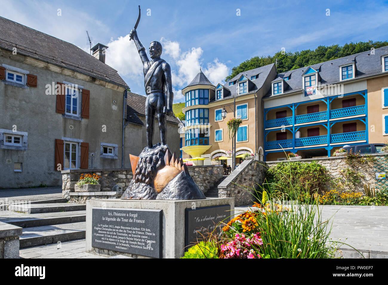 Statue of French Tour de France cyclist, Eugène Christophe / Le Vieux Gaulois at Sainte-Marie-de-Campan, Hautes-Pyrénées, France Stock Photo