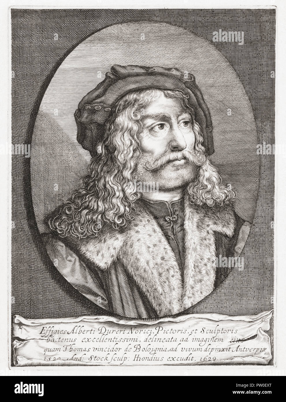 Albrecht Dürer, 1471 to 1528. German painter, printmaker and theorist. A 17th century engraving after a work by Italian artist Tommaso di Andrea Vincidor. - Stock Image
