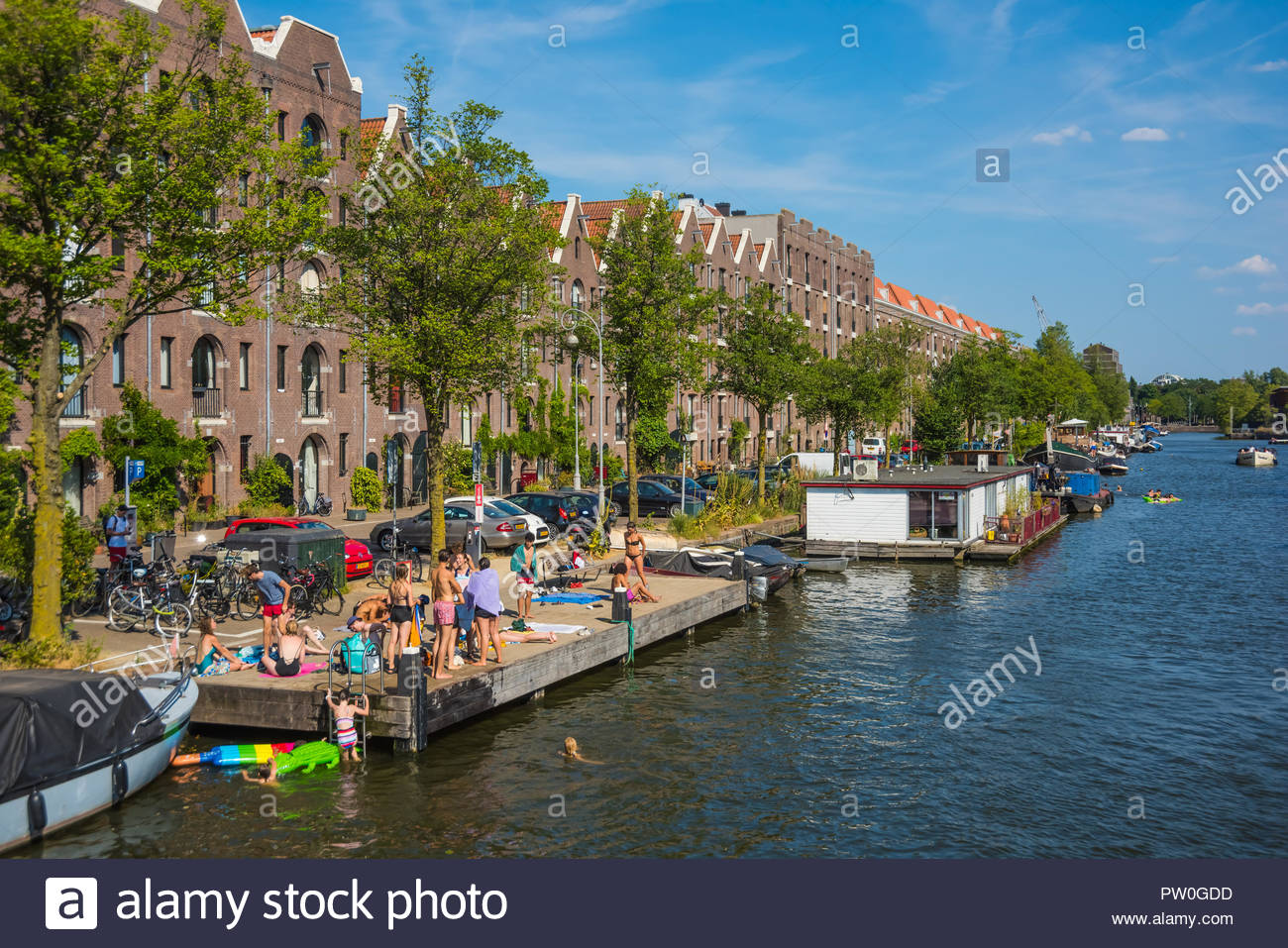 Amsterdam, Badende an einer Gracht, Bathing in a Gracht - Stock Image