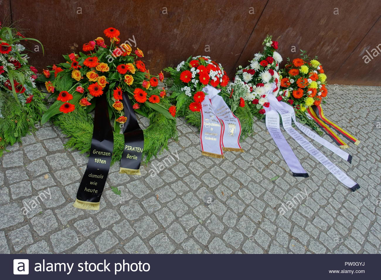 Berliner Mauer, Gedenken an die Maueropfer am 13.8.2018, Berlin Wall, Commemoration for the Victims of the Berlin Wall on August 13, 2018 - Stock Image