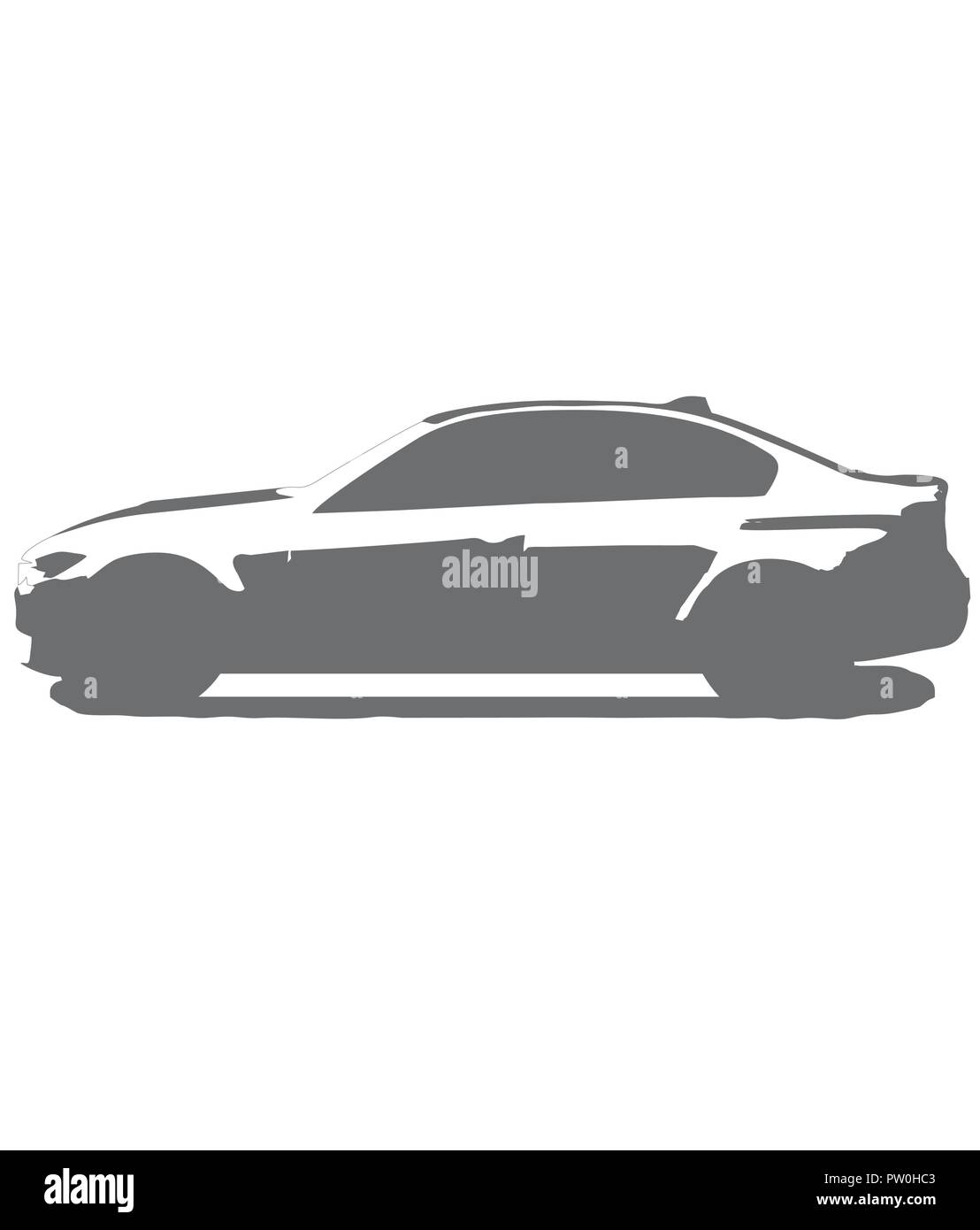 Bmw m3 silhouette in black and white. German sportscar. perfect for sticker, logo or t shirt. A strong motored car - Stock Vector