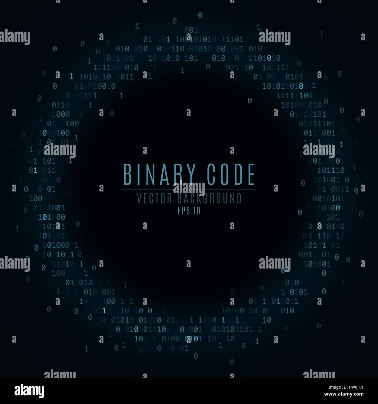 Binary code. Abstract banner. Falling blue glowing numbers. Global network. High technologies, programming, sci-fi. Hacking system. Vector illustratio - Stock Image