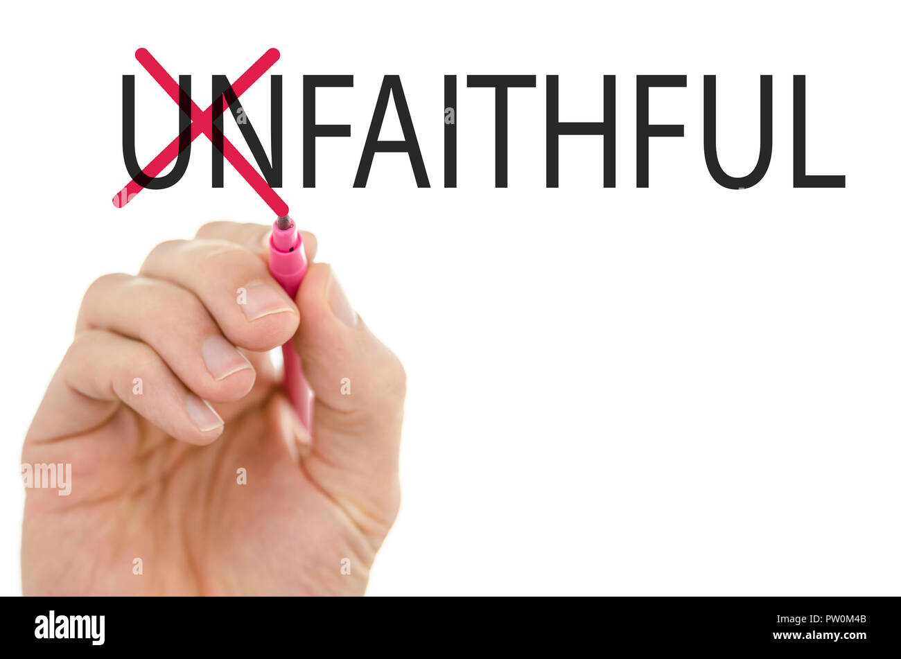 Changing word Unfaithful into Faithful by crossing off letters un. - Stock Image