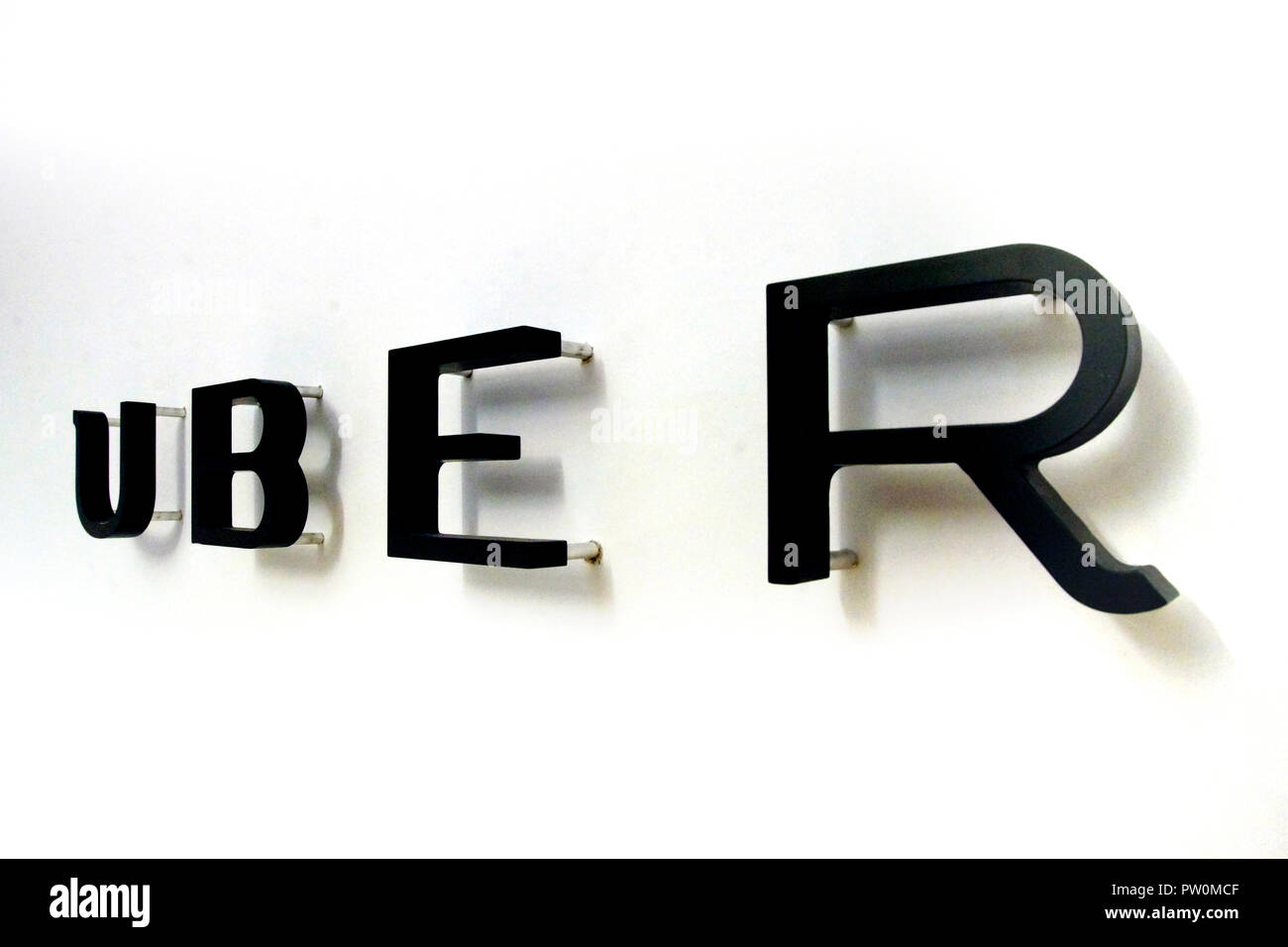 Montreal,Canada,20 May,2017.UBER sign in their Montreal offices. Credit:Mario Beauregard/Alamy Live News - Stock Image