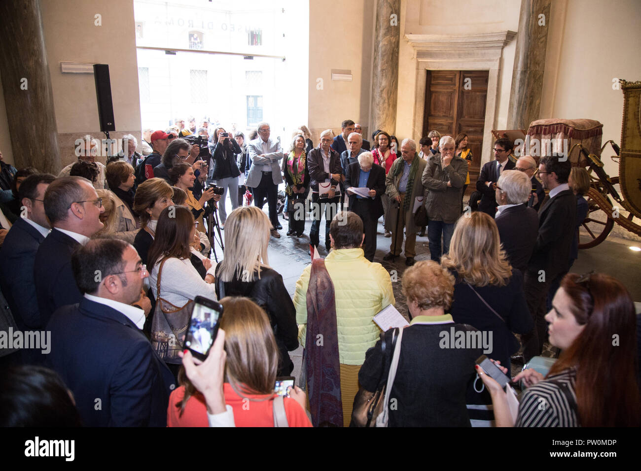 Roma, Italy. 11th Oct, 2018. Inauguration of the exhibition 'Il sorpasso. Quando l'Italia si mise a correre, 1946-1961' at the Museum of Rome in Palazzo Braschi Credit: Matteo Nardone/Pacific Press/Alamy Live News - Stock Image