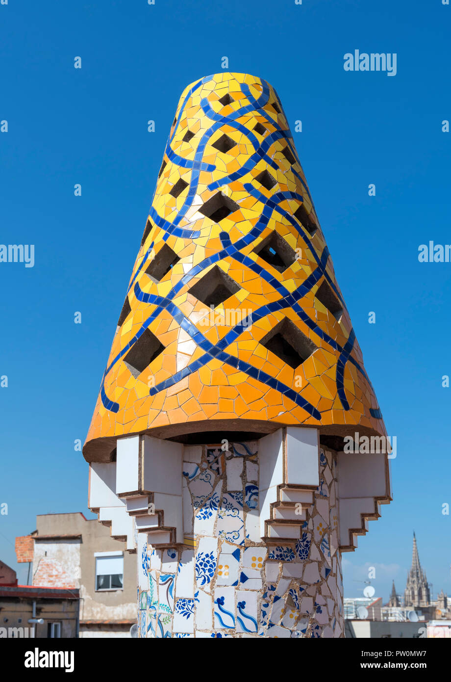 Decorative chimney pot on the roof of Antoni Gaudi's Palau Guell, El Raval, Barcelona, Spain - Stock Image