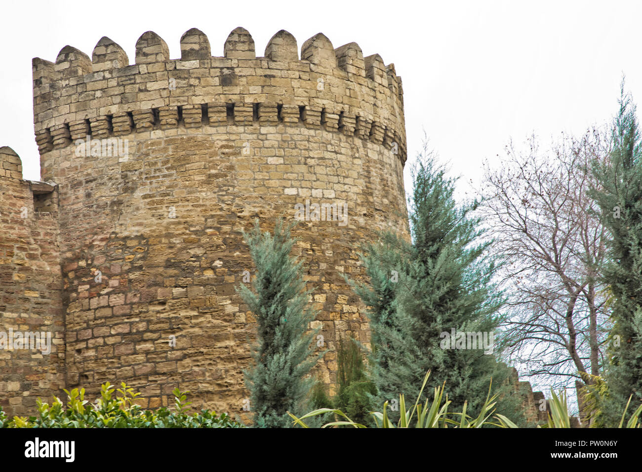 Gate of the old fortress, entrance to Baku old town. Baku, Azerbaijan. Walls of the Old City in Baku . Icheri Sheher is a UNESCO World Heritage Site - Stock Image