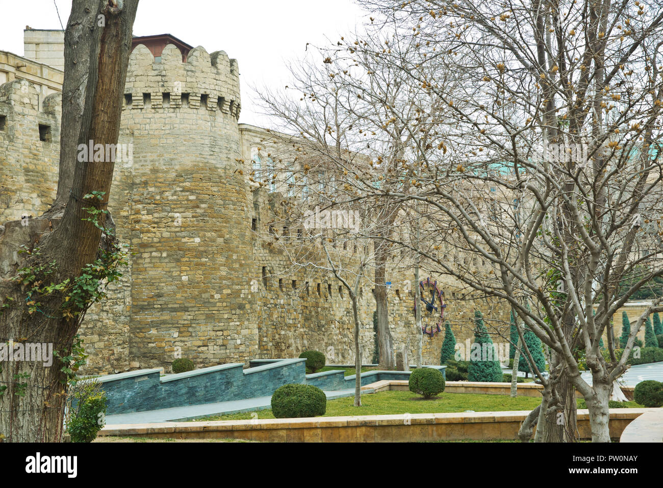 Icheri Sheher in Baku. Azerbaijan . Gate of the old fortress, entrance to Baku old town. Baku, Azerbaijan. Walls of the Old City in Baku . - Stock Image