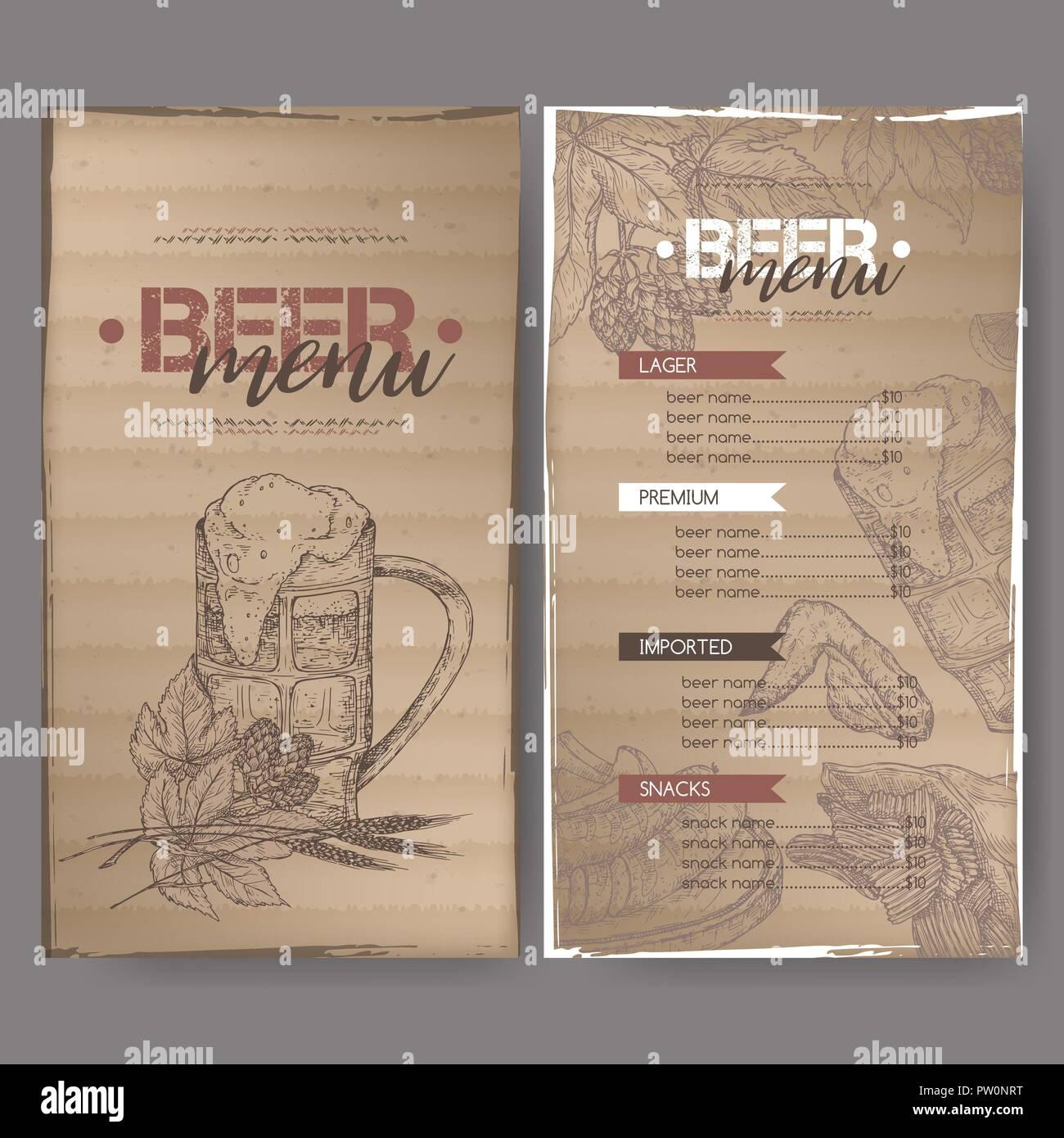 beer menu template with beer mug hop branch wheat chips nuts