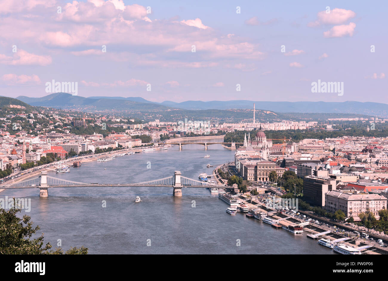 Budapest Arial View August 2018 - Stock Image