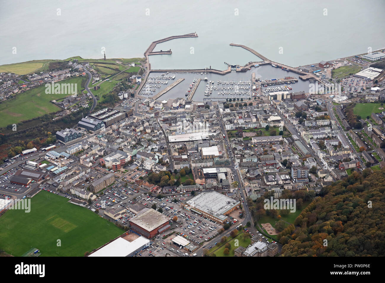 aerial view of the Cumbrian coast town of Whitehaven - Stock Image