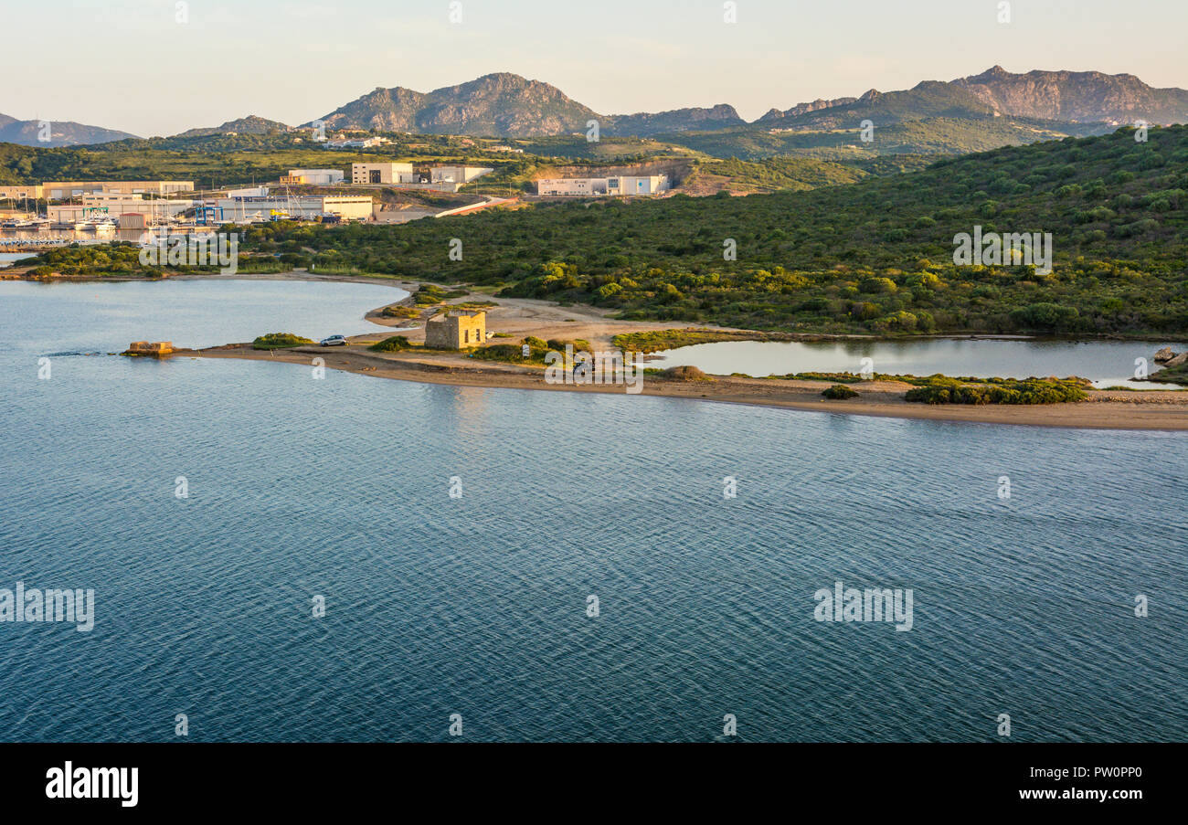 Olbia in Sardinia. Landscape around Olbia, view from cruise ship arriving into the Olbia harbor in Sardinia island, morning scene - Stock Image