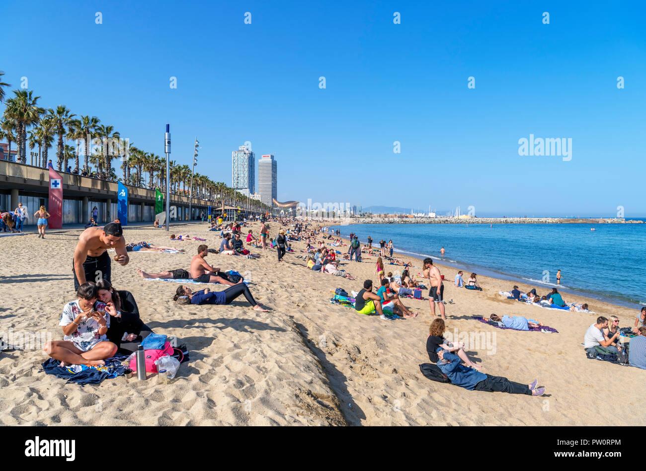 Barcelona beach. The beach in La Barceloneta (Platja de la Barceloneta), Barcelona, Spain Stock Photo